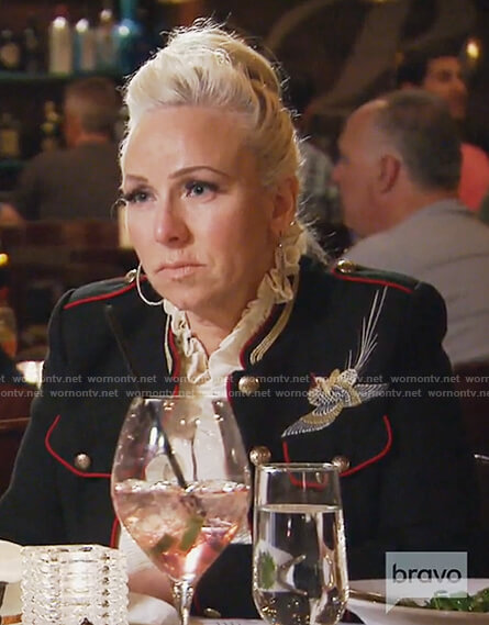 Margaret's black embroidered blazer on The Real Housewives of New Jersey