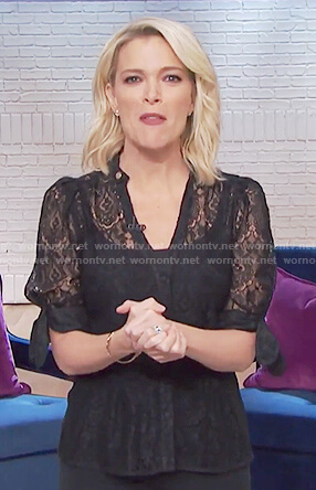 Megyn's black floral lace blouse on Megyn Kelly Today