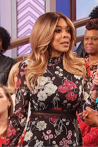 Wendy's black floral print lace insert dress on The Wendy Williams Show