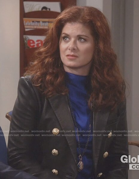 Grace's black leather button front jacket on Will and Grace