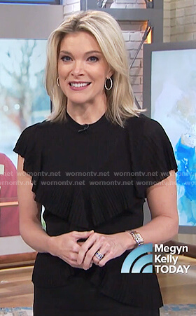 Megyn's black ribbed ruffle dress on Megyn Kelly Today