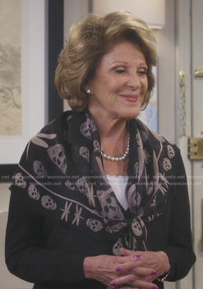 Judy's black skull and dragonfly print scarf on 9JKL