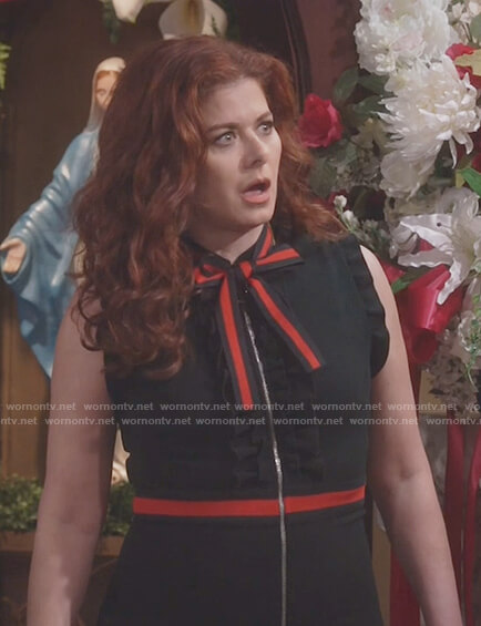 Grace's black ruffle bow neck dress on Will and Grace