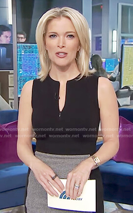Megyn's black sleeveless sheath dress on Megyn Kelly Today