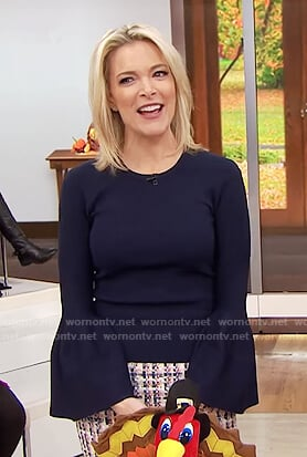 Megyn's navy bell sleeve top and tweed skirt on Megyn Kelly Today