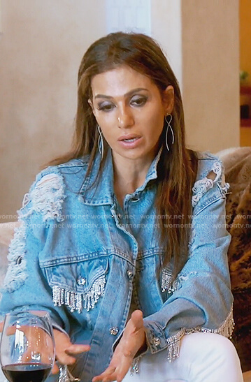 Peggy's blue distressed denim jacket on The Real Housewives of OC