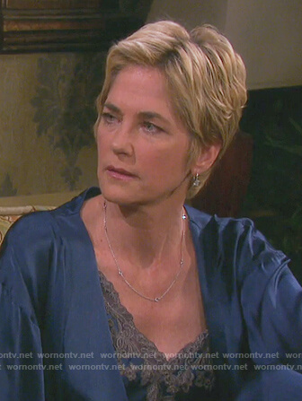 Eve's blue satin embroidered robe and camisole on Days of Our Lives