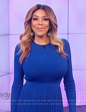 Wendy's blue knitted dress on The Wendy Williams Show