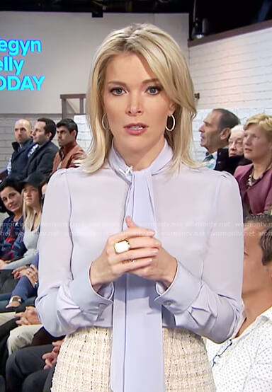 Megyn's blue pussy bow top and tweed skirt on Megyn Kelly Today