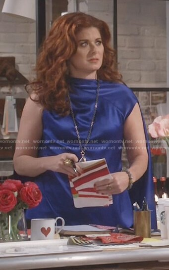 Grace's blue satin drape top on Will and Grace