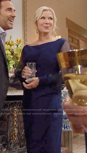 Brooke's blue Thanksgiving dress on The Bold and the Beautiful