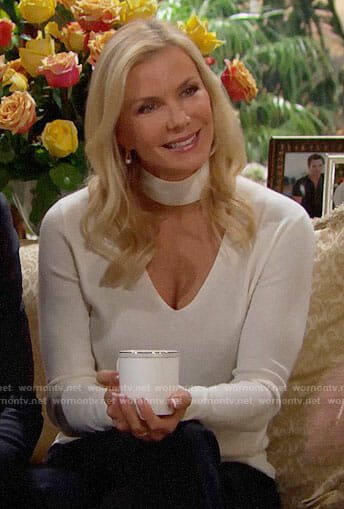 Brooke's white choker neck sweater on The Bold and the Beautiful