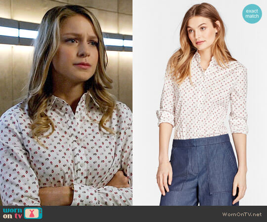 Brooks Brothers Floral-Print Stretch Cotton Poplin Shirt worn by Melissa Benoist on Arrow