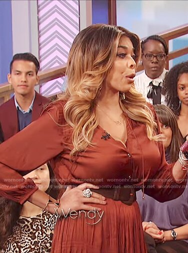 Wendy's brown pleated long sleeve dress on The Wendy Williams Show