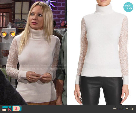 C by Bloomingdales Lace Sleeve Turtleneck Cashmere Sweater  worn by Sharon Collins (Sharon Case) on The Young & the Restless