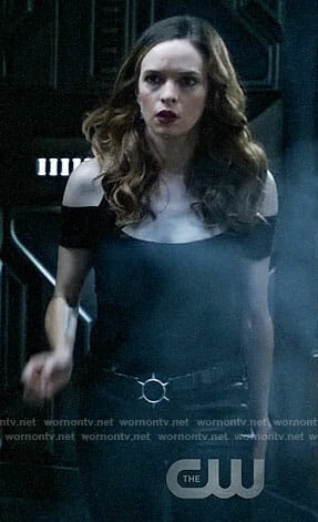Caitlin's black cold-shoulder top on Legends of Tomorrow