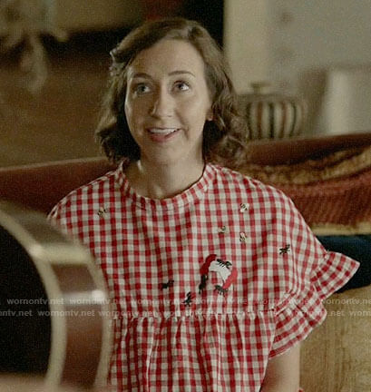 Carol's red gingham check dress on Last Man on Earth