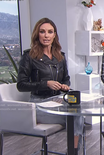 Catt's black moto jacket and cropped jeans on E! News Daily Pop