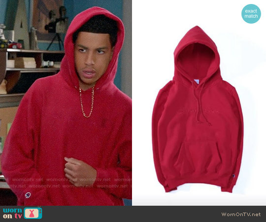 Champion Red Pullover Hoodie worn by Marcus Scribner on Blackish