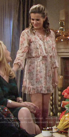 Chelsea's floral Thanksgiving romper on The Young and the Restless