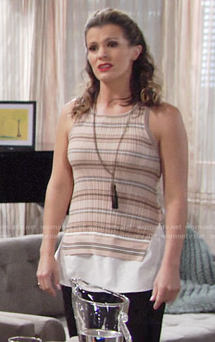 Chelsea's beige striped sleeveless top on The Young and the Restless