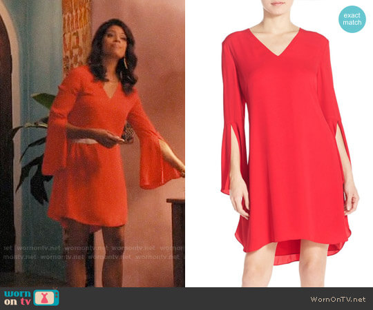 Chelsea28 Bell Sleeve Chiffon A-Line Dress worn by Andrea Navedo on Jane the Virgin
