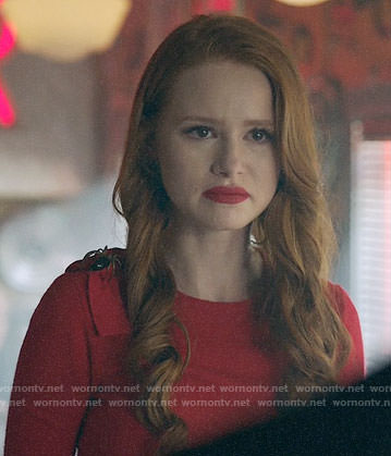 Cheryl's red bow and spider shoulder sweater on Riverdale