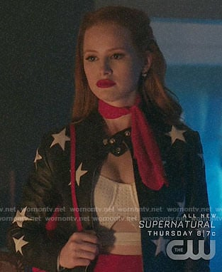 Cheryl's star print leather jacket on Riverdale