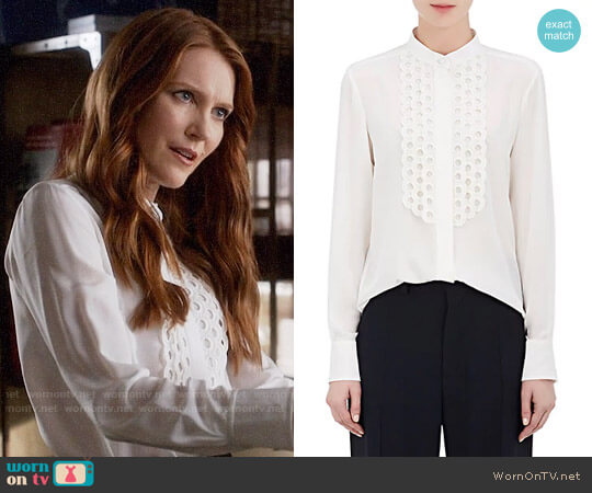 Chloe Silk Crepe De Chine Scalloped Blouse  worn by Darby Stanchfield on Scandal