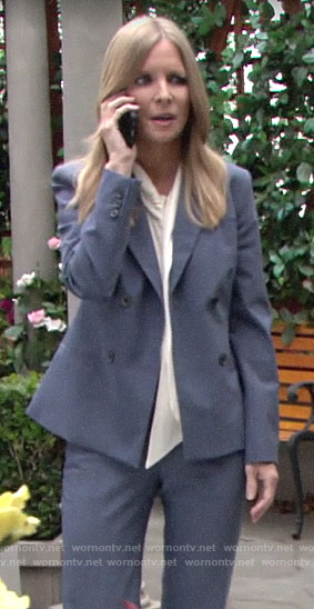 Christine's blue double breasted suit on The Young and the Restless