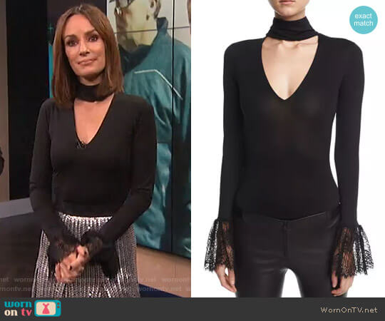 'Elara' Choker-Collar Lace-Cuffs Bodysuit by Cinq a Sept worn by Catt Sadler on E! News