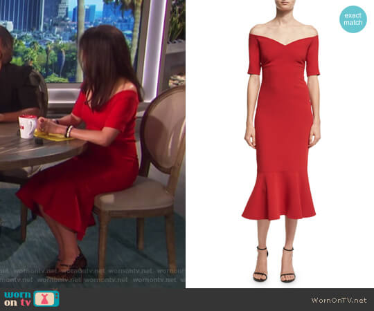Marta Off-the-Shoulder Peplum-Hem Midi Dress by Cinq a Sept worn by Julie Chen  on The Talk