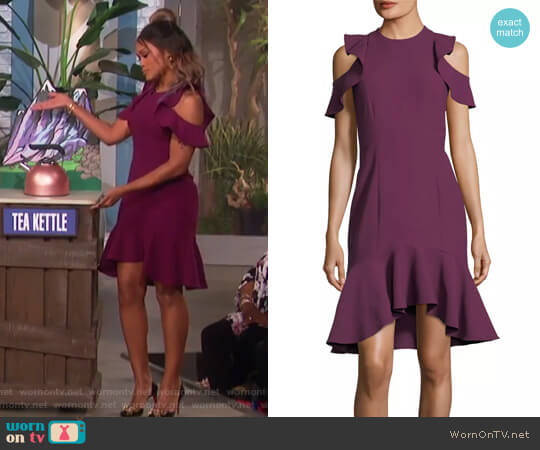 Micah Jewel-Neck Sheath Crepe Cocktail Dress w/ Ruffled Hem by Cinq a Sept worn by Eve on The Talk