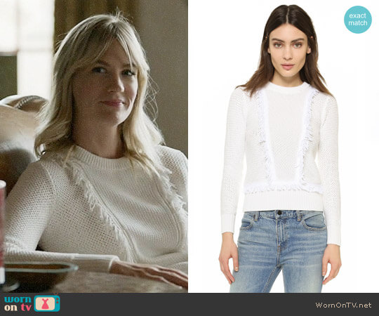 Club Monaco Martuska Fringe Sweater worn by January Jones on Last Man On Earth