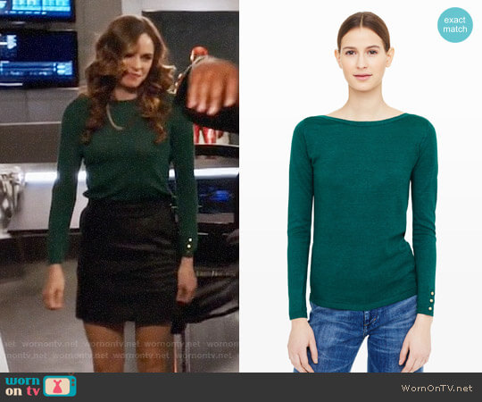 Club Monaco Lana Button Sweater worn by Danielle Panabaker on The Flash