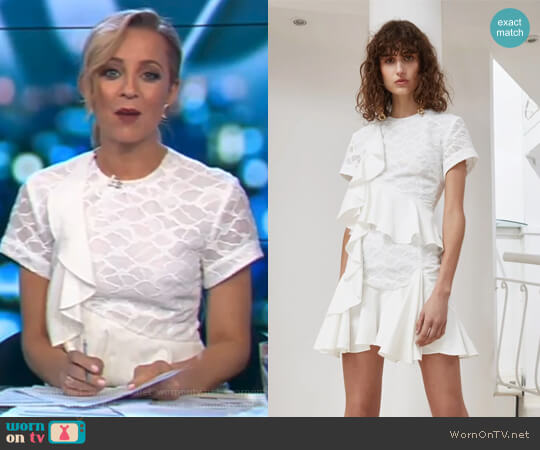 Phase Short Sleeve Dress by C/Meo Collective worn by Carrie Bickmore (Carrie Bickmore) on The Project