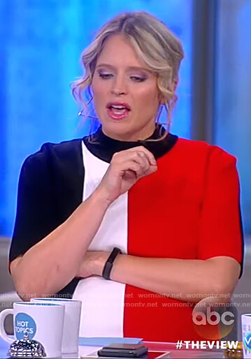 Sara's color-block stripe knit dress on The View
