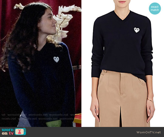 Comme Des Garcons PLAY Wool V-Neck Sweater worn by Sabrina Pemberton (Sofia Black D'Elia) on The Mick