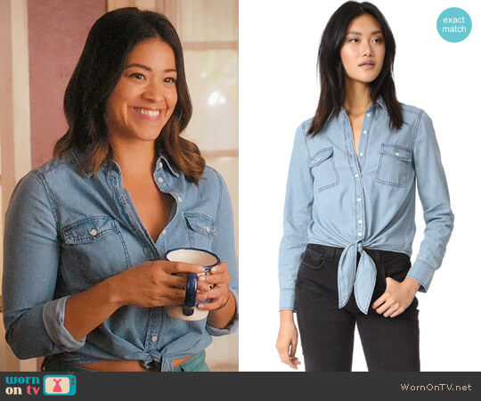 Cupcakes and Cashmere Ayres Tie Front Shirt worn by Gina Rodriguez on Jane the Virgin