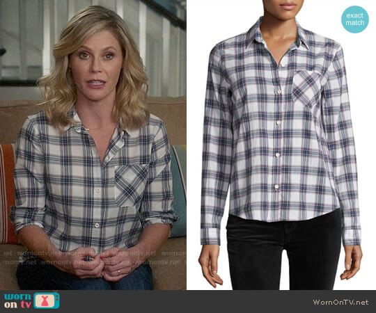 Current Elliott The Slim Boy Shirt in Burnside Plaid worn by Julie Bowen on Modern Family