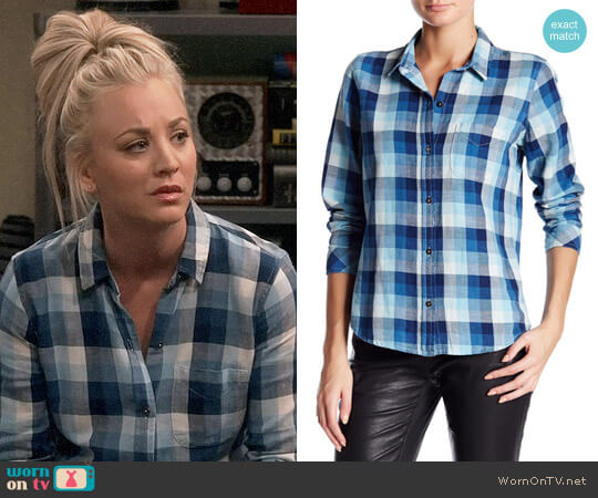 Current Elliott The Slim Boy Shirt in Billie Plaid worn by Penny Hofstadter (Kaley Cuoco) on The Big Bang Theory