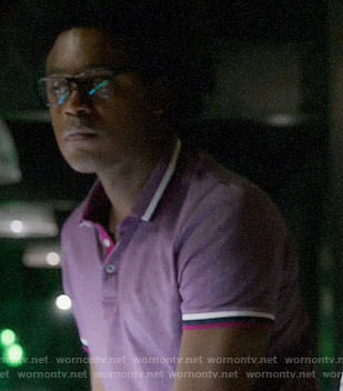 Curtis's purple polo shirt with pink trim on Arrow