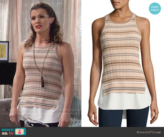 Derek Lam 10 Crosby Sheer Striped Combo Tunic Tank worn by Melissa Claire Egan on The Young & the Restless