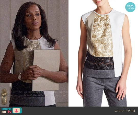 Derek Lam Sleeveless Lace Colorblock Blouse worn by Kerry Washington on Scandal
