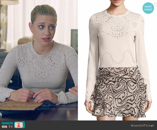 Derek Lam 10 Crosby Pointelle Cotton Sweater worn by Lili Reinhart on Riverdale