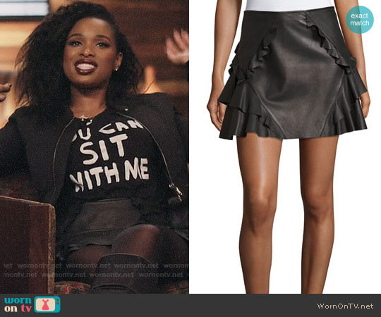 Ruffled Leather Mini Skirt by Derek Lam 10 Crosby worn by Jennifer Hudson on The Voice