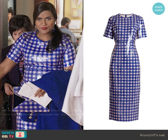Diane von Furstenberg Cossier-print sequin-embellished dress worn by Mindy Lahiri (Mindy Kaling) on The Mindy Project