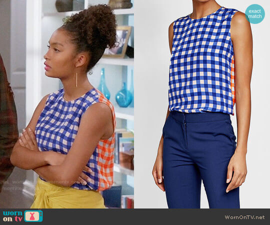 Diane von Furstenberg Colorblock Print Silk Shell  worn by Yara Shahidi on Blackish