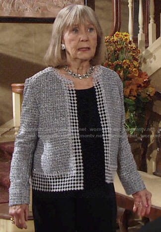 Dina's tweed jacket with floral lace trim on The Young and the Restless