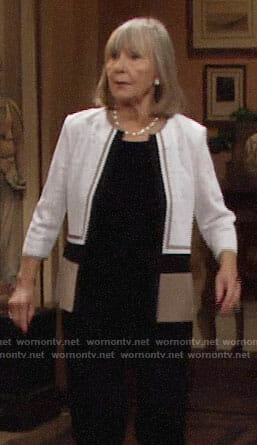 Dina's colorblock lace jacket on The Young and the Restless